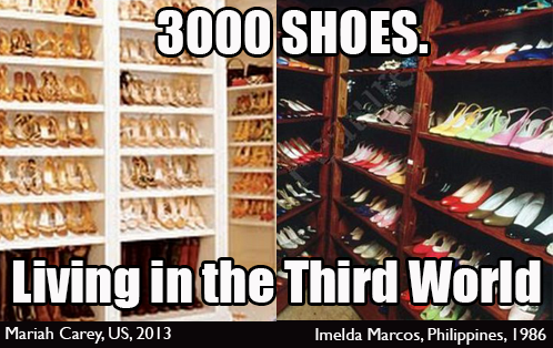 3000 SHOES: living in the third world.  Image shows closets filled with shoes, Mariah Carey's on the left and Imelda Marcos' on the right
