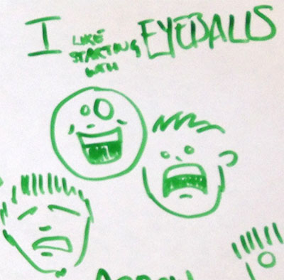 """I like starting with eyeballs"" three faces show happy/cheer, despair, and another unhappy wide-eyed emotion, additional face is cropped at the margin"