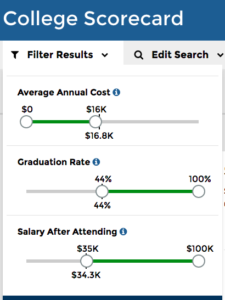 filter UI with sliders for cost, graduation rate and salary after attending