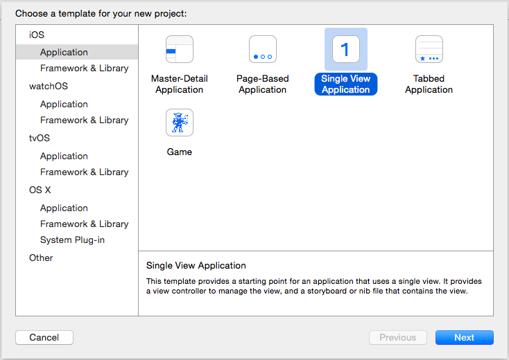 dialog box with 'Single View Application' selected