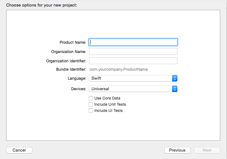 XCode New Project Dialog box