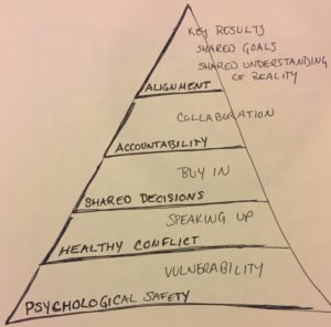Psychological Safety and Vulnerability, Healthy Conflict and Speaking Up, Shared Decisions with Buy In, Accountability supported by collaboration, Alignment of key results, shared goal and a shared understanding of reality