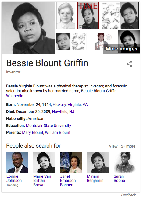 "Google ""knowledge card"" for Bessie Blount Griffen, shows same photo for Marie Van Brittan Brown and Miriam Benjamin"