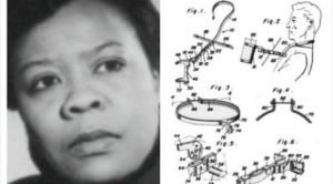 photo of black women and patent drawing of medical apparatus
