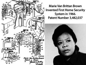 patent drawing with home security system, with text: Marie Van Brittan Brown invented First Home Security System in 1966