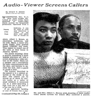 Newspaper article with photo of black woman and man behind her, caption: Mr and Mrs Albert L Brown